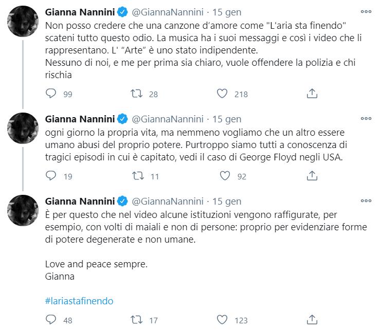Gianna Nannini poliziotti maiali